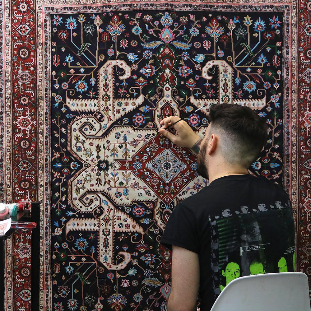 Ręcznie malowany perski dywan, Jason Seife, Źródło: http://www.thisiscolossal.com/wp-content/uploads/2016/08/jason-7.jpg