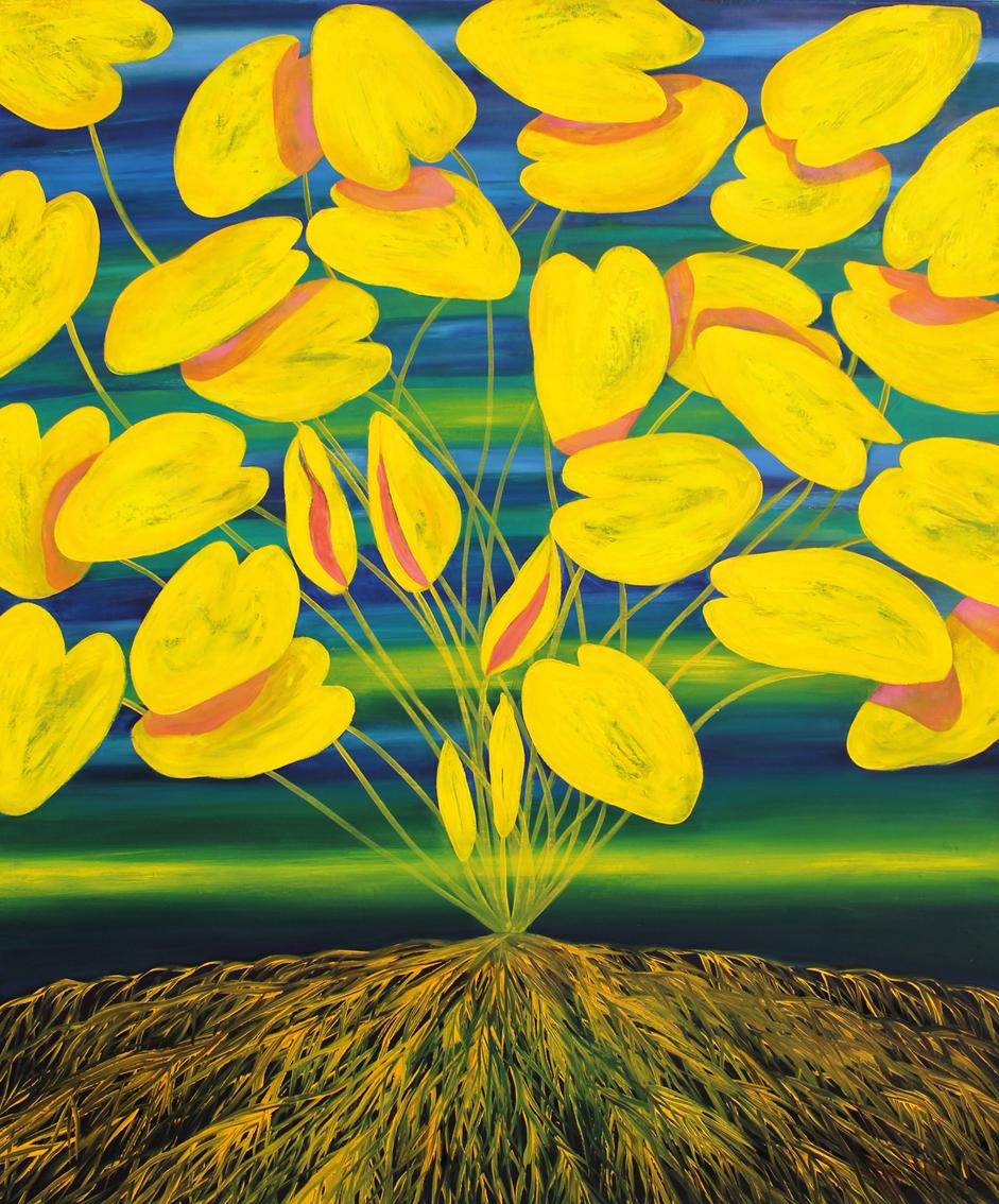Ewa Kalinowska Bajek, Korzenie - żółte nenufary, olej na płótnie, 120 x 100 cm, 2015-2016