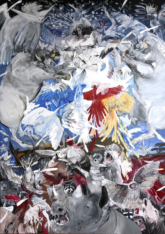 Pola Dwurnik, Uniesienie Alcyny przez białe ptaki (za Przemienieniem Rafaela), 2015, olej, płótno, 210 x 150 cm