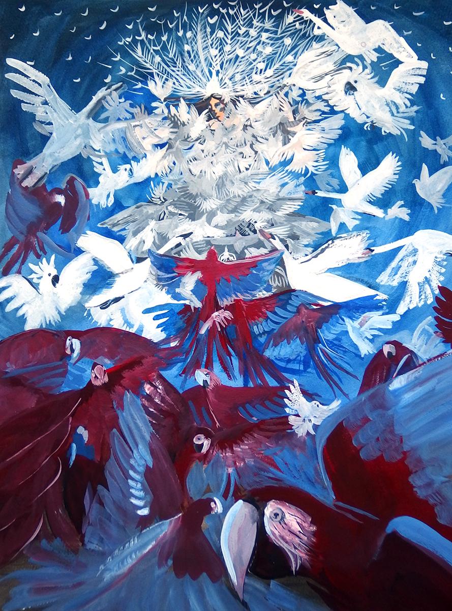 Pola Dwurnik, Uniesienie Alcyny przez białe ptaki (za Przemienieniem Rafaela), wersja biało-czerwona, 2015, gwasz na papierze