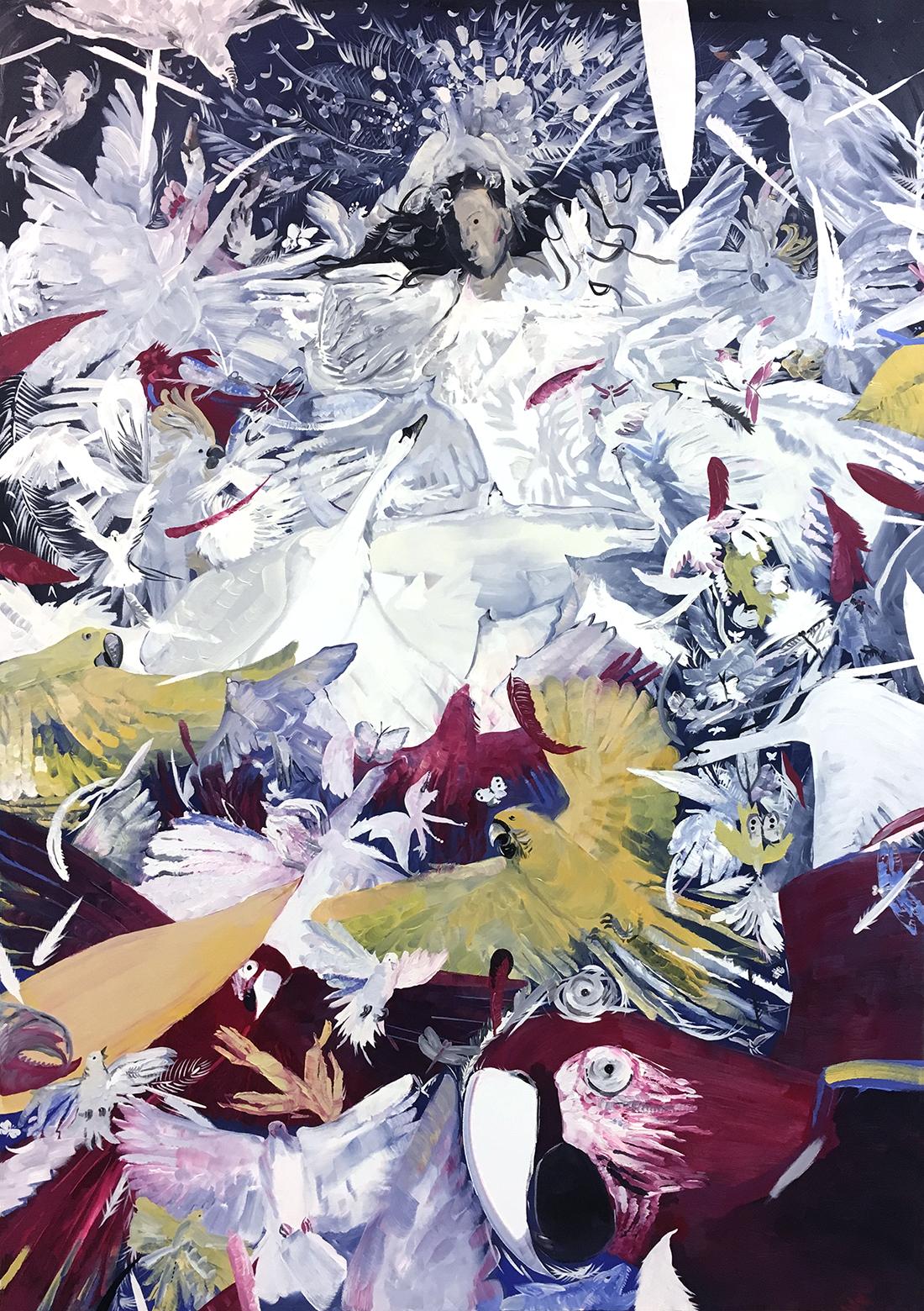 Pola Dwurnik, Uniesienie Alcyny przez białe ptaki (za Przemienieniem Rafaela), wersja II, 2016, olej płótno, 210 x 150 cm
