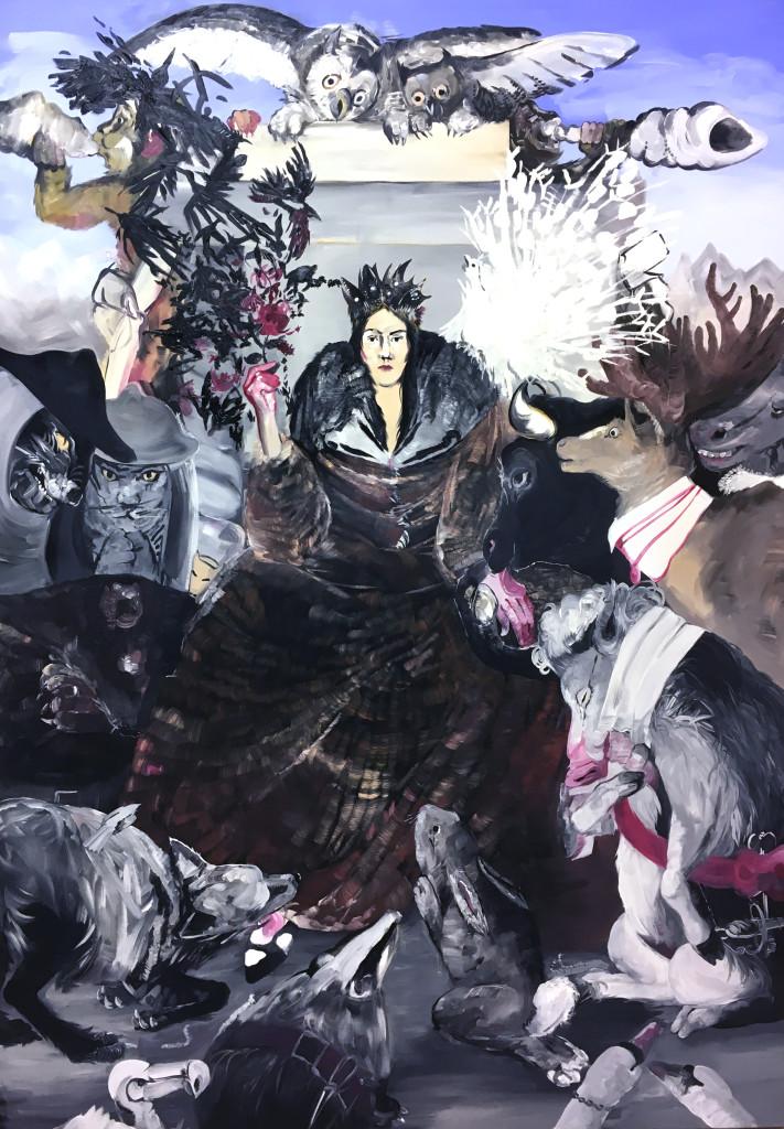 Pola Dwurnik, Pokłon zwierząt przed Alcyną (za Wilhelmem von Kaulbachem), 2015, olej, płótno, 210 x 150 cm