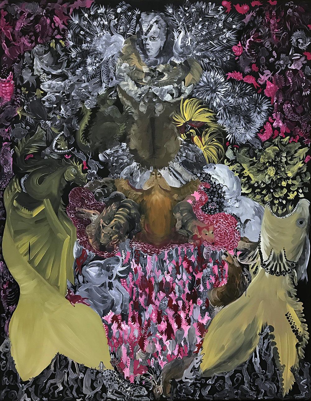 Pola Dwurnik, Suknia Alcyny, 2015, olej, płótno, 146 x 114 cm