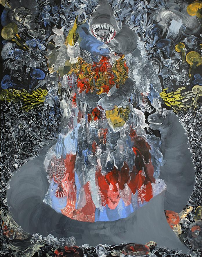 Pola Dwurnik, Morska suknia Alcyny, 2014-2015, olej, płótno, 146 x 114 cm