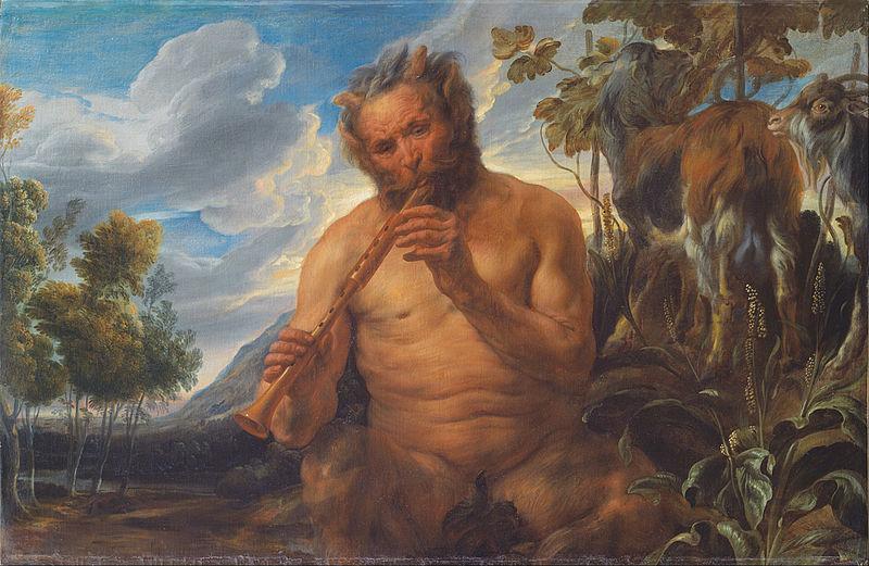 Jacob Jordaens, Satyr grający na fujarce (dzieciństwo Jupitera) (fragment)
