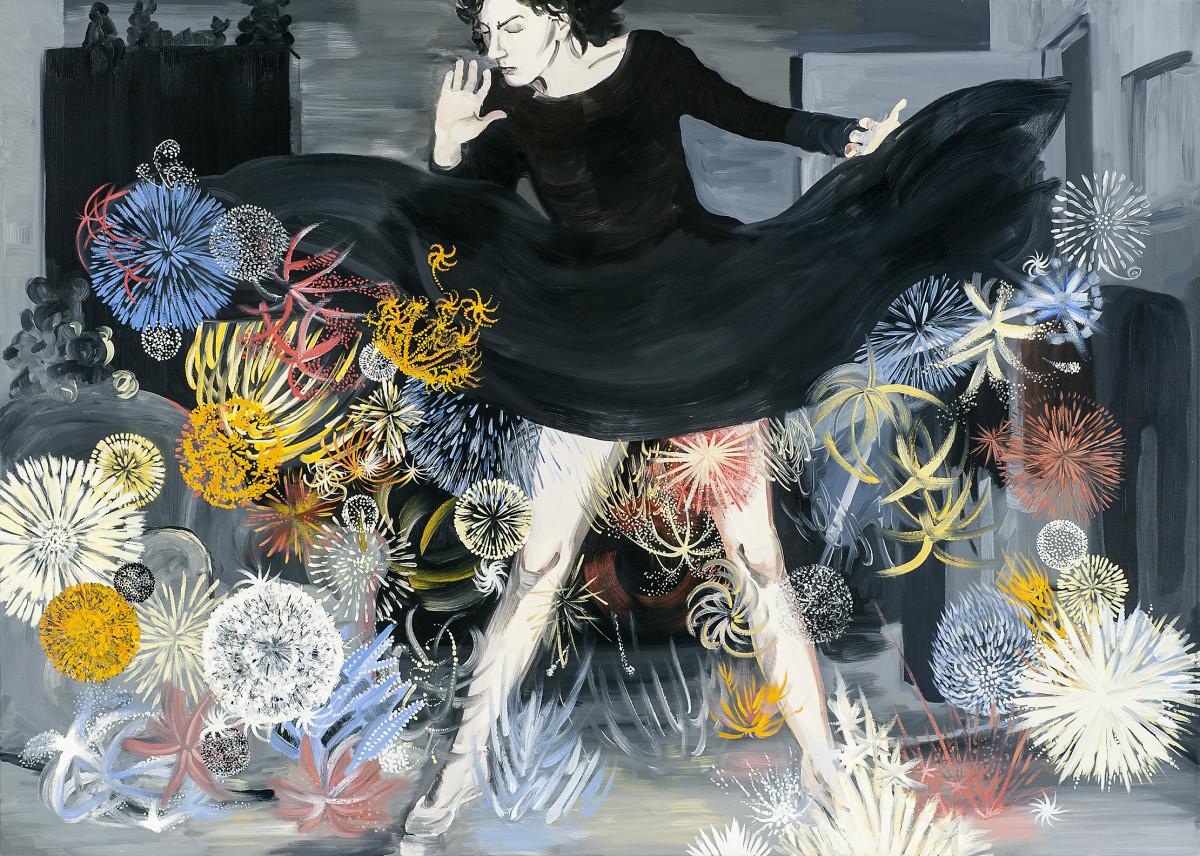 """Pola Dwurnik """"Fajerwerki"""", 2010, olej na płótnie, 150x210 cm"""
