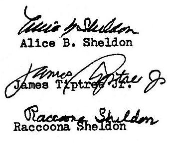 """Trzy autografy Alice Sheldon i jej pseudonimy, źródło"""" Wikimedia Commons"""