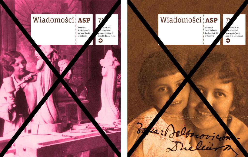 Odrzucone projekty okładki Wiadomości ASP z wizerunkiem pierwszej studentki rzeźbiarki - Zofii Baltarowicz-Dzielińskiej