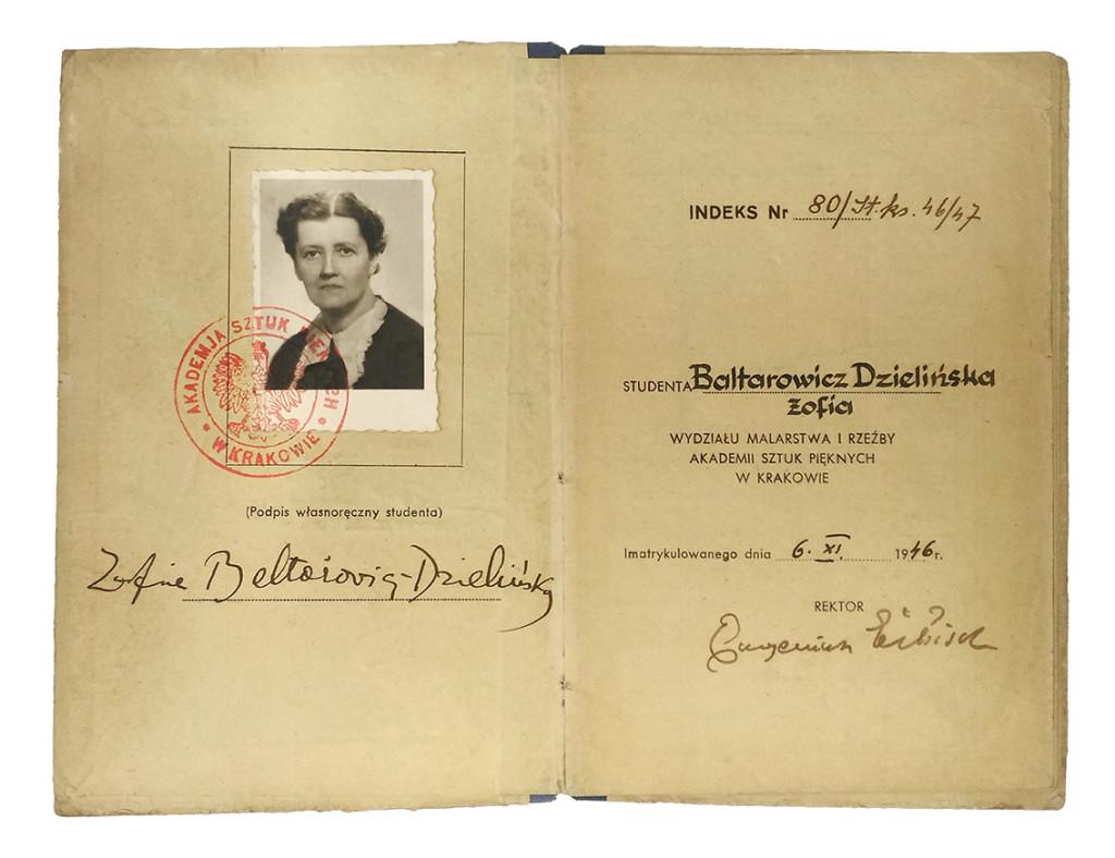 indeks Zofii Baltarowicz-Dzielińskiej, dzięki uprzejmości pracowni Dokumentacji Sztuki Współczesnej, Instytut Sztuki PAN, Warszawa