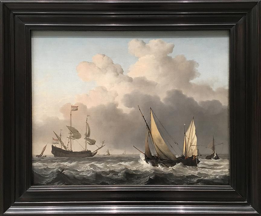 """Żagle malowane na płótnie żaglowym. Nic bardziej meta! Willem van de Velde Młodszy """"Żaglowiec w świeżej bryzie"""", 1665-70, olej na płótnie żaglowym (Zbiory Museum of Fine Arts w Bostonie, fot. PP)"""