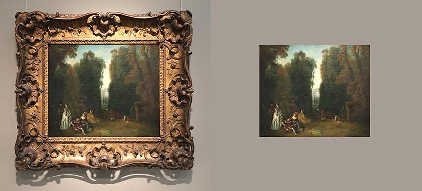 "Antoine Watteau ""La Perspective (…)"", ok. 1715 (z ramą i bez),Zbiory Museum of Fine Arts w Bostonie, fot. PP"