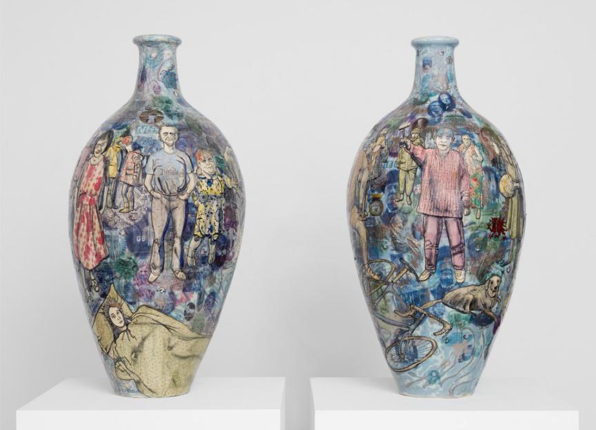 "Grayson Perry ""Brexit Pots"", ceramika polichromowana, 2017"