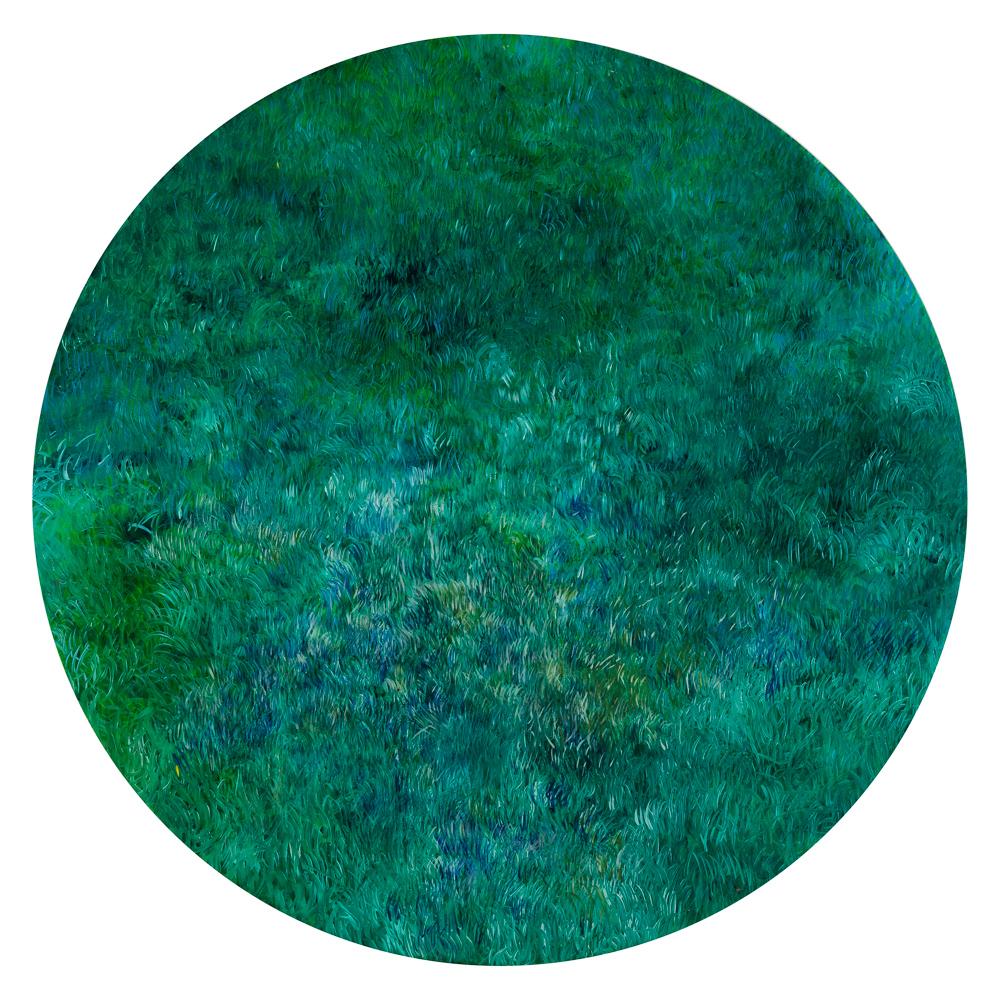 """Grażyna Smalej """"Sarenka"""", 2017, olej na płótnie (okrąg """"pełniejszy"""" od prostokąta)"""