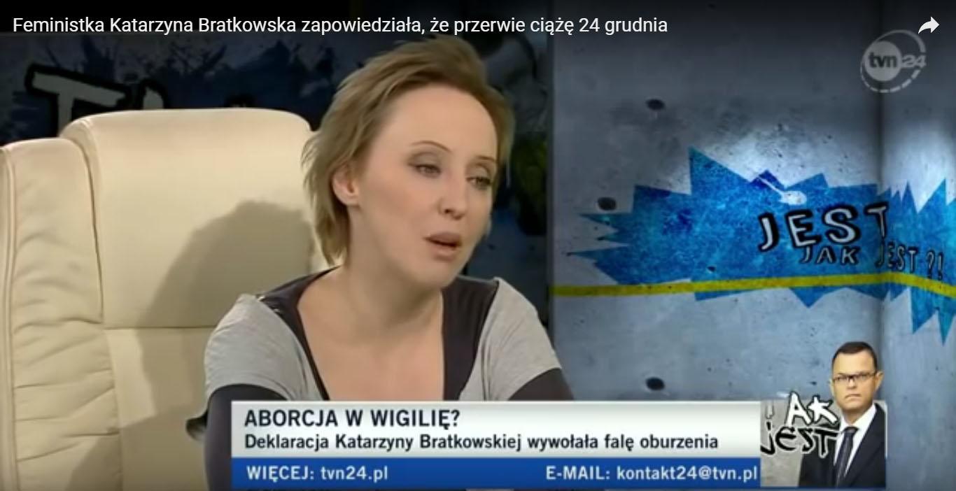 Katarzyna Bratkowska w studio TVN24, źródło: Youtube