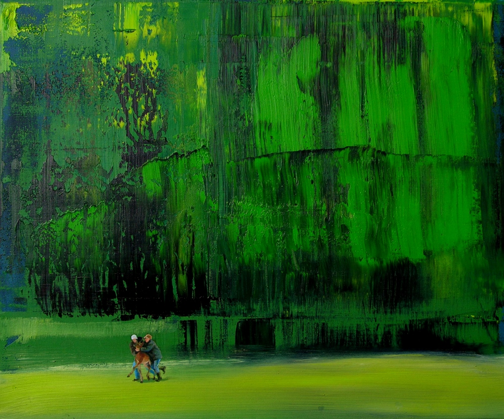 Grażyna Smalej, Tymczasem na brzegu lasu, 2013. olej na płótnie