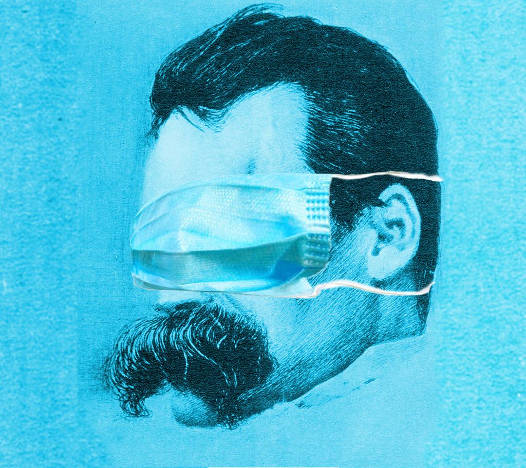 Nietzsche pandemiczny, kolaż NOM