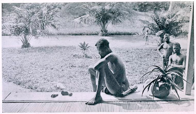 Nsala, of the disctrict of Wala, looking at the severed hand and foot of his five-year-old daughter, Boali, a victim of the Anglo-Belgian India Rubber Company (A.B.I.R.) militia.
